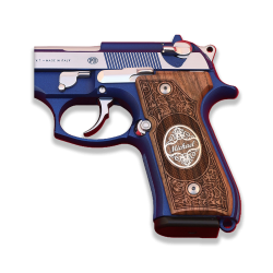 Beretta 92/96/98/M9 Full Size Grip Custom (Your Name and Last Name) Black Acrylic, Silver