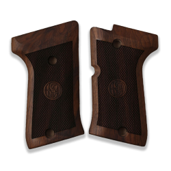 Beretta Compact Type M Model Compatible Walnut Grip for Replacement (with Diamond Checkered Pattern & Relief)