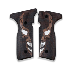 Beretta Stoeger Cougar 8000 8040 8357 Model Compatible Walnut Grip for Replacement with Diamond Checkered Pattern & Skull