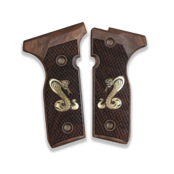 Beretta Stoeger Cougar 8000 8040 8357 model Compatible Walnut Grip for Replacement with Snake Figure on Brass