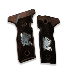 Beretta Stoeger Cougar 8000 8040 8357 Model Compatible Walnut Grip for Relacement with Silver Jolly Joker Figure