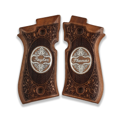 Cheetah 81 81BB 81F 81FS 84 84BB 84F 84FS Model Compatible Walnut Grip for Replacement with Custom Name & Lastname on Silver