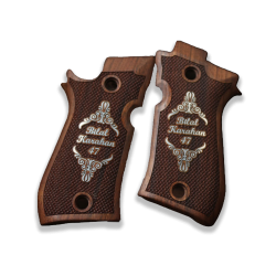 Cheetah 81 81BB 81F 81FS 84 84BB 84F 84FS Model Compatible Walnut Grip (Your Name and Last Name on Silver)