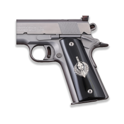 Colt / Other 1911's Model Full Size Compatible Black Acrylic Grip for Replacement with Silver Figure