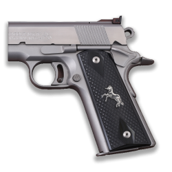 Colt / Other 1911's Model Compatible Black Acrylic Grip for Replacement with Diamond Checkered Pattern & Silver Horse