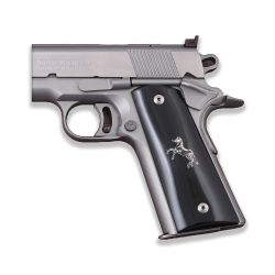 Colt / Other 1911's Model Full Size Compatible Black Acrylic Grip for Replacement with Silver Horse Figure