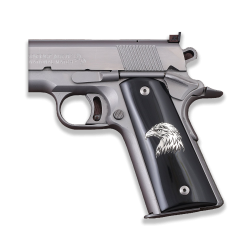 Colt / Other 1911's Model Full Size Compatible Black Acrylic Grip for Replacement, (Eagle Logo on Silver)