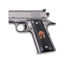 Colt / Other 1911's Model Full Size Compatible Black Acrylic Grip for Replacement (Spartan Logo on Brass)