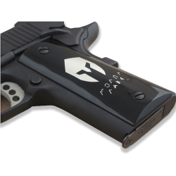 Colt / Other 1911's Model Full Size Compatible Black Acrylic Grip for Replacement, (Spartan Logo on Silver)