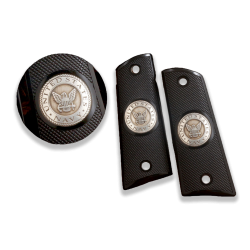 Colt / Other 1911's Model Full Size Compatible Black Acrylic Grip for Replacement, (U.S. Navy Emblem on Silver)