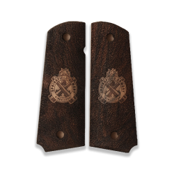 Colt 1911 Compact Officer / Defender / Agent Model Compatible Walnut Grip for Replacement, with Logo
