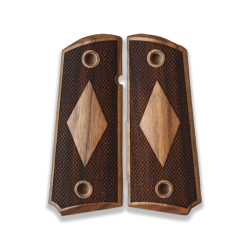 Colt 1911 Compact Officer / Defender / Agent Model Compatible Walnut Grip for Replacement, with Diamond Checkered Pattern