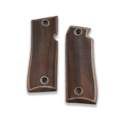 Colt Goverment 380 / Mustang Plus II Model Compatible Walnut Grip for Replacement, with Diamond Checkered Pattern