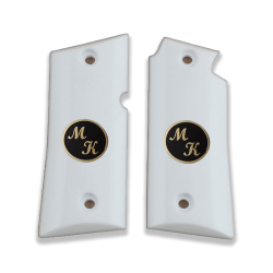 Colt Mustang Pocketlite Model Compatible White Acrylic Grip for Replacement (with Custom Initials on Brass)
