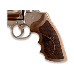 Colt Python / Officer Model Compatible Walnut Grip for Replacement, (with Half Pattern)