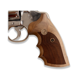 Colt Python / Officer Model Compatible Walnut Grip For Replacement (Your Name and Last Name First Letter on Brass)