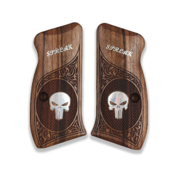 CZ 75 Compact / P01 / 40P Model Compatible Walnut Grip (Custom Name and Last Name & Silver Skeleton Figure)