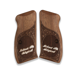 CZ 75 Compact / P01 / 40P Model Compatible Walnut Grip for Relacement (Custom Name and Last Name on Silver)