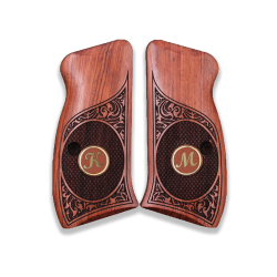 CZ 75 Compact / P01 / 40P Model Compatible Walnut Grip for Replacement (with Custom Initials on Brass)