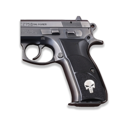 CZ 75B / 85B Model Compatible Black Acrylic Grip for Replacement (with Half Pattern & Silver Skeleton Figure)