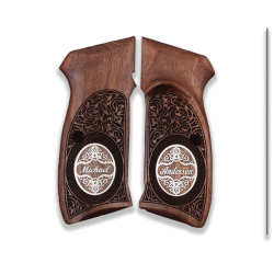 CZ 75B / 85B and SP 01 Model Compatible Walnut Grip (with Thumb Grip and Custom Name & Last Name on Silver)