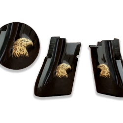 Desert Eagle Compatible Black Acrylic Grip for Replacement (with Eagle Figure on Brass Material)