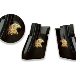 Desert Eagle Compatible Black Acrylic Grip for Replacement (with Eagle Relief on Brass)