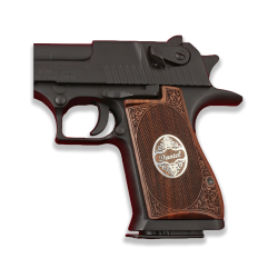 Desert Eagle Compatible Walnut Grip for Replacement (Name and Last Name First  Letter on Silver)