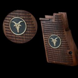 Desert Eagle Mark I / Mark VII / Mark XIX Model Compatible Walnut Grip for Replacement (Goat Figure on Brass Material)