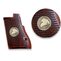 Desert Eagle Mark I / Mark VII / Mark XIX Model Compatible Rosewood Grip for Replacement (Wolf Figure on Brass Material)