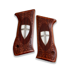 Jericho .45 ACP Model Compatible Rosewood Grip for Replacement, (with Shield Cross on Silver Material)