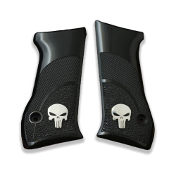 Jericho 941 F/FS Model Compatible Black Acrylic Grip for Replacement (with Half Pattern & Silver Skeleton Figure)