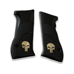 Jericho 941 F/FS Model Compatible Black Acrylic Grip for Replacement (Silver Skeleton Figure)