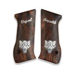 Jericho 941 F FS Baby Eagle (9mm and .41) Model Compatible Root Walnut Grip for Replacement, with Name and Figure on Silver
