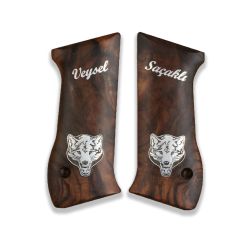 Jericho .45 Acp Model Compatible Root Walnut Grip for Replacement with Custom Name & Lastname and Bear Figure