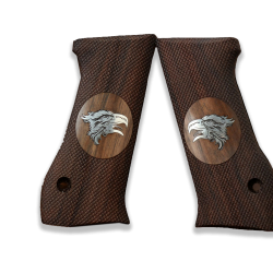 Jericho .45 Acp Model Compatible Walnut Grip for Replacement with Silver Eagle Figure