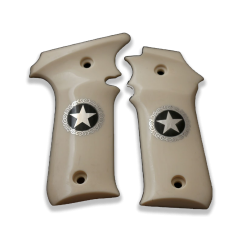 LLama IIIA 7,65 Model Compatible Ivory Acrylic Grip for Replacement (Star Figure on Silver)
