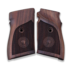 Beretta 90 Compatible Walnut Grip for Replacement, with Diamond Checkered Pattern & Armi Roma