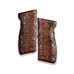 Mauser 90 DA Model Compatible Walnut Grip for Replacement, with Aztec Calendar