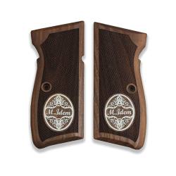 Mauser 90 DA Model Compatible Walnut Grip for Replacement (with Your Name and Last Name on Silver)
