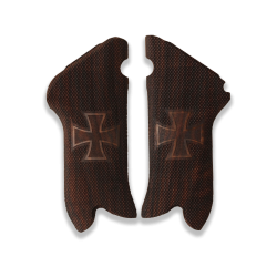 Luger Mauser P 08 Model Compatible Walnut Grip for Replacement, with Diamond Checkered Pattern and Cross