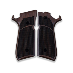 Beretta 92 Combat / Stock Model Compatible Walnut Grip for Replacement, with Diamond Checkered Pattern