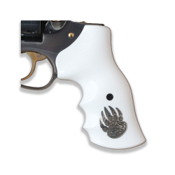 RUGER GP100 Model Compatible White Acrylic Grip for Replacement, with Silver Figure