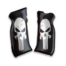 Sarsılmaz B6 Hawk Model Compatible Black Acrylic Grip for Replacement (with Silver Skeleton Figure)