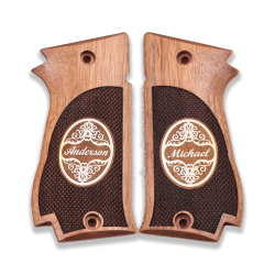 Sarsılmaz K2 45 Model Compatible Walnut Grip for Replacement (Silver Custom Name and Last Name)