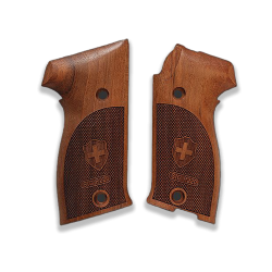 SIG P220 Model Compatible Walnut Grip for Replacement (with Diamond Checkered Pattern & Swiss Cross Relief)