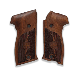 SIG P220 Model Compatible Walnut Grip for Replacement (with Half Pattern & Silver Cross)