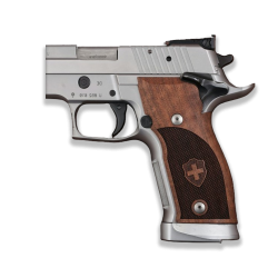 Sig Sauer P226 SAO / X-Five / X-Six Compatible Walnut Grip for Replacement (with Diamond Checkered Pattern & Swiss Cross)