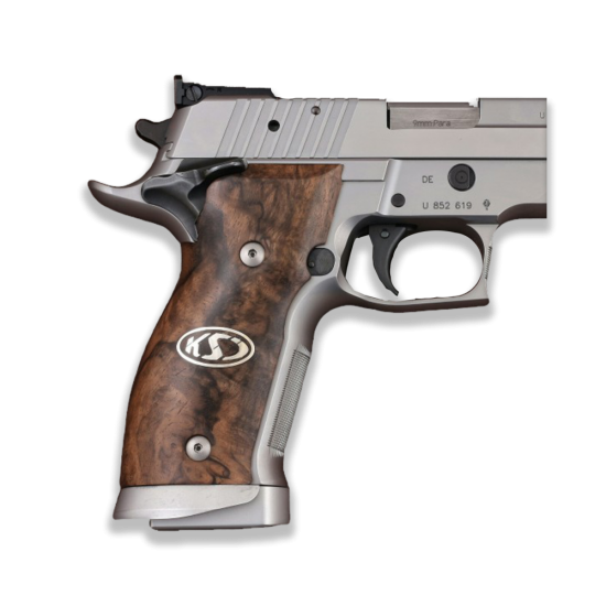 Sig Sauer P226 SAO / X-Five / X-Six Model Compatible Root Walnut Grip for Replacement (Silver Logo)