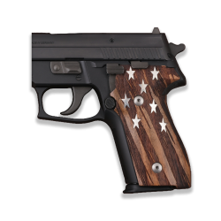 Sig Sauer P228 / P229 Model Compatible Walnut Grip for Replacement (Silver Stars on Silver)